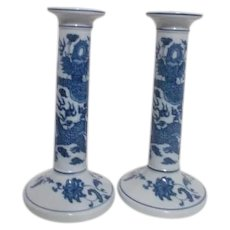 Tall Blue and White Candle Holders with Dragon  Andrea by Sadek