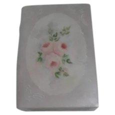 Ceramic Box Book Shape Roses on Lid Signed