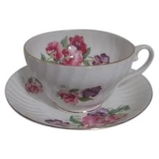 Stanley England Large Cup & Saucer with Pansy Design