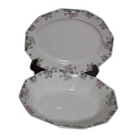 Johnson Bros. English Art Deco Pattern Small Platter and Open Vegetable Bowl