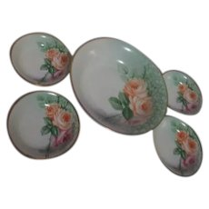 Z.S.&C0. Bavarian Hand Painted Berry Bowl Server with 4 Individual Bowls
