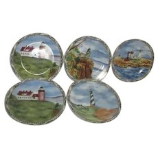 American Atelier At Home Signals Series 5 Salad Plates Lighthouses