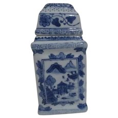 Blue and White Chinese Square Jar with Lid