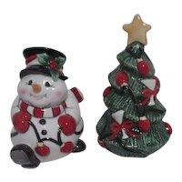 Fitz & Floyd Christmas Ceramic Salt & Pepper Tree and Snowman
