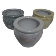 "Set of 3 Small Pots ""Pearlized"" Sheen"