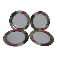Set of 4 Sakura Dinner Plates Renoir Border