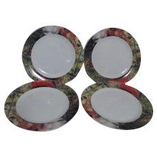Set of 4 Sakura Dinner Plates Renoir Border
