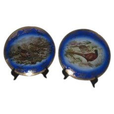 Pair of Decorator Plates with Pheasants on Blue Background West Germany