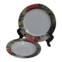 Sakura Renoir Round Platter/Chop Plate and Soup Bowl