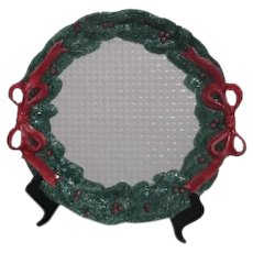 Fitz & Floyd Christmas Ceramic Tray with Greenery and Red Bows