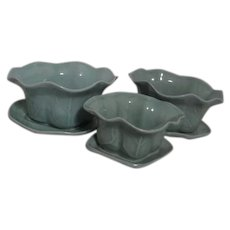 Set of Three Celadon Planters Graduated Sizes with Matching Under Plates