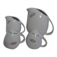 Hall Rose White Salt & Pepper,  Cream Pitcher  and Water or Juice Pitcher