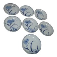 Hand Painted Blue Poppy Design Small/Sauce Bowls
