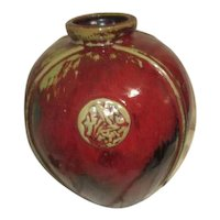 Chinese Large Round Red Vase with Medallion Decoration