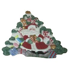 Fitz & Floyd Christmas Ceramic Santa and Tree Cookie Tray