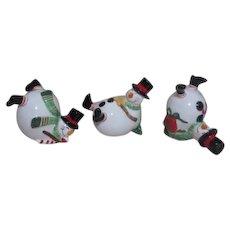 Fitz & Floyd Christmas Ceramic Tumbling Snowmen