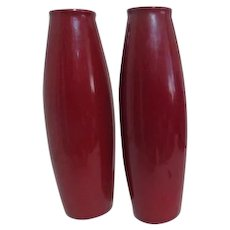 Pair of Red Scheurich Amano Design Art Pottery Tall Vases