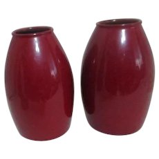 Pair of Red Scheurich Amano Design Art Pottery Vases