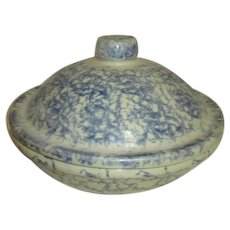 Robinson Ransbottom Pottery Covered Pie Dish/Casserole Blue Spongeware