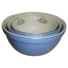 Hall's Royal Rose Set of Three Mixing Bowls
