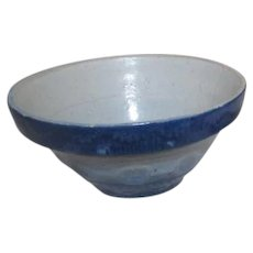 Blue Glazed Stoneware Small Mixing Bowl