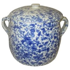Blue and White Spongeware Lidded Bean Pot