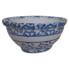 Blue and White Spongeware Mixing Bowl