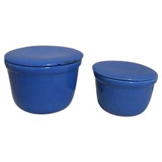 Set of Two Blue Covered Refrigerator Canister Bowls
