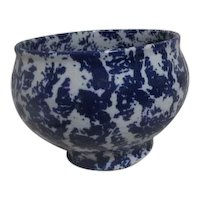 Blue and White Spongeware Bowl Vase