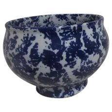 Blue and White Spongeware Bowl Vase