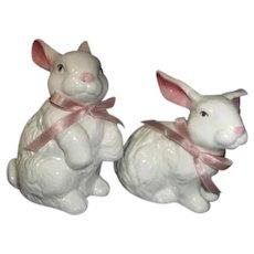 Pair of White Ceramic Rabbits