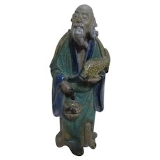 Antique Chinese Mud Man with Basket and Fish