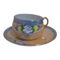Japanese Lusterware Cup and Saucer with Hand Painted Violets