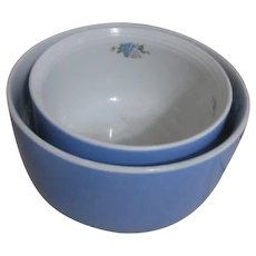 Hall Pair of Two Blue Mixing Bowls