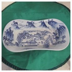 Blue and White Ceramic Serving Bowl with Oriental Scene