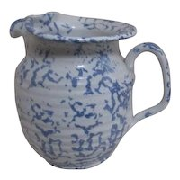 Blue and White Signed Spongeware Pitcher