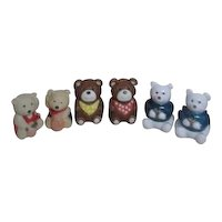 3 Sets of Bears Salt & Pepper Shakers
