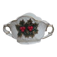 Cream White Double Handles Display Bowl with Holly Berries and Leaves