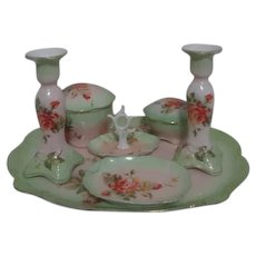 9 Piece Vanity Set Orange Roses and Light Green
