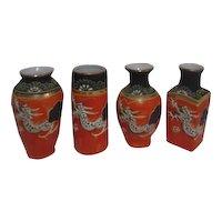 Set of 4 Nakasima Small Vases Orange and Black Applied Moriage Dragon