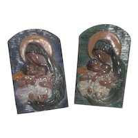 Pair of Madonna and Child Wall Scenes by G. Vincent Caltagirone