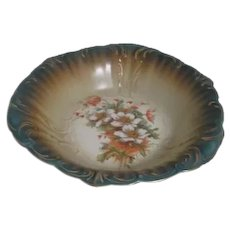 Lebeau Porcelain Serving Bowl with Flowers and Gold Highlights
