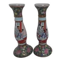 Pair of Tall Chinese Rose Familia Pattern Candle Holders
