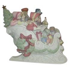 Ceramic Christmas Sleigh with Family 1998