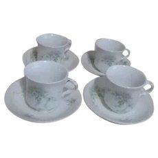 Johnson Brothers Pattern JB1277 Royal Semi Porcelain Set of 4 Demitasse Cups & Saucers