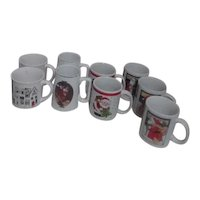 Set of 9 Christmas Mugs