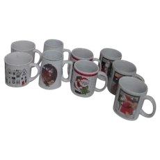 Set of 9 Christmas Mugs