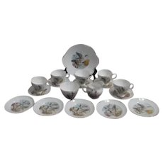 Royal Tara Fine Bone China Wild Geese on 18 Piece Dessert Set