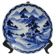 Vintage Japanese Blue and White Hand Painted Charger Plate