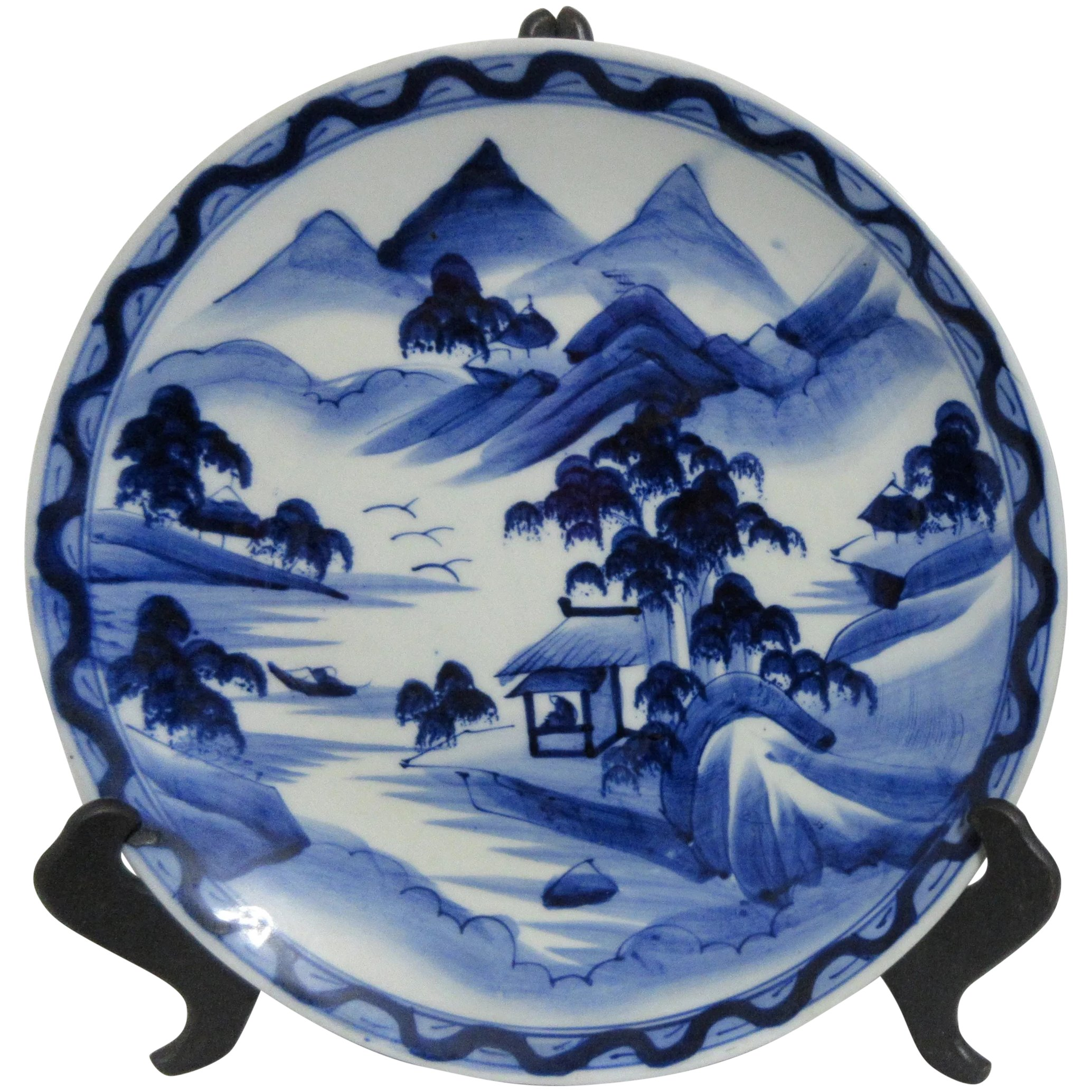 Vintage Japanese Blue And White Hand Painted Charger Plate Something Wonderful Ruby Lane